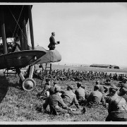A British chaplain preaches at an aerodrome in France